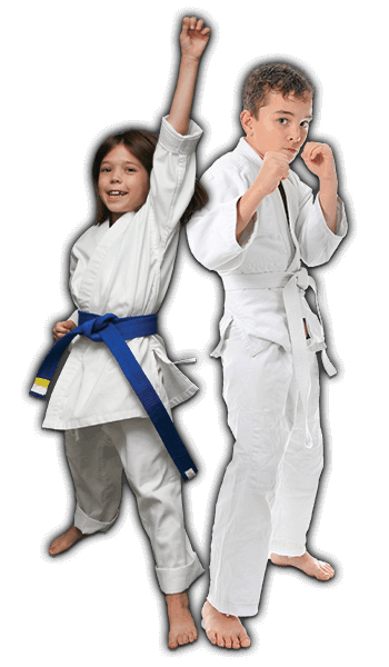 Martial Arts Lessons for Kids in San Antonio TX - Happy Blue Belt Girl and Focused Boy Banner